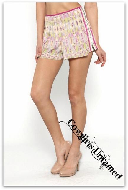 COWGIRL GYPSY SHORTS Sequin Trim Fuchsia Tribal Print High-Waisted Shorts