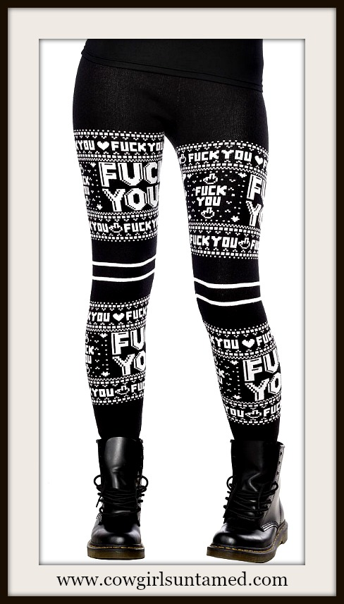 "SOURPUSS LEGGINGS ""Fuck You"" Black and White Leggings"