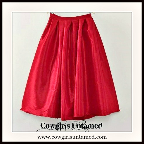 SOUTHERN BELLE SKIRT Pleated Long Full Red Taffeta Southern Skirt