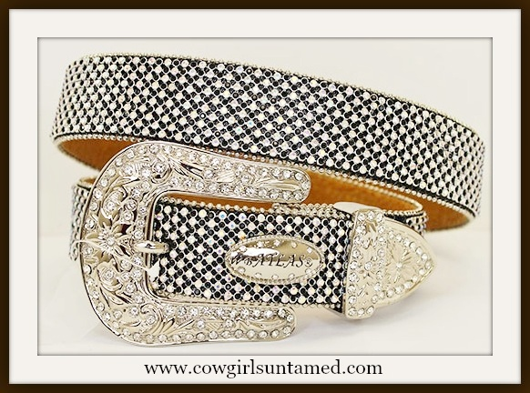 COWGIRL GLAM BELT Rhinestone with Silver Crystal Buckle on Black Leather Belt