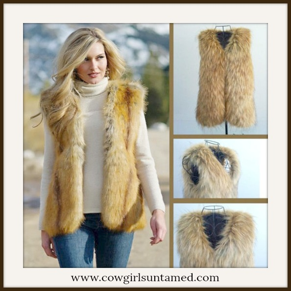 COWGIRL GYPSY VEST Brown & Tan Faux Fur Open Vest