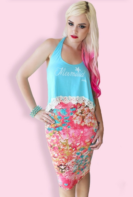 COWGIRL PINUP SKIRT Pink Aqua Multi Color Fitted Western Pencil Skirt