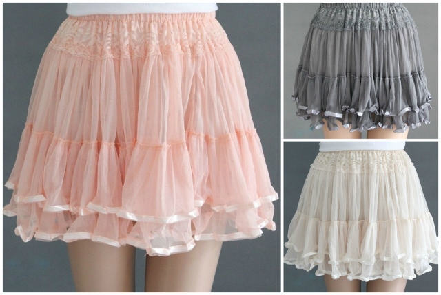 COWGIRL GYPSY SKIRT Lace Chiffon Tiered Layered Elastic Waist Western Mini Skirt
