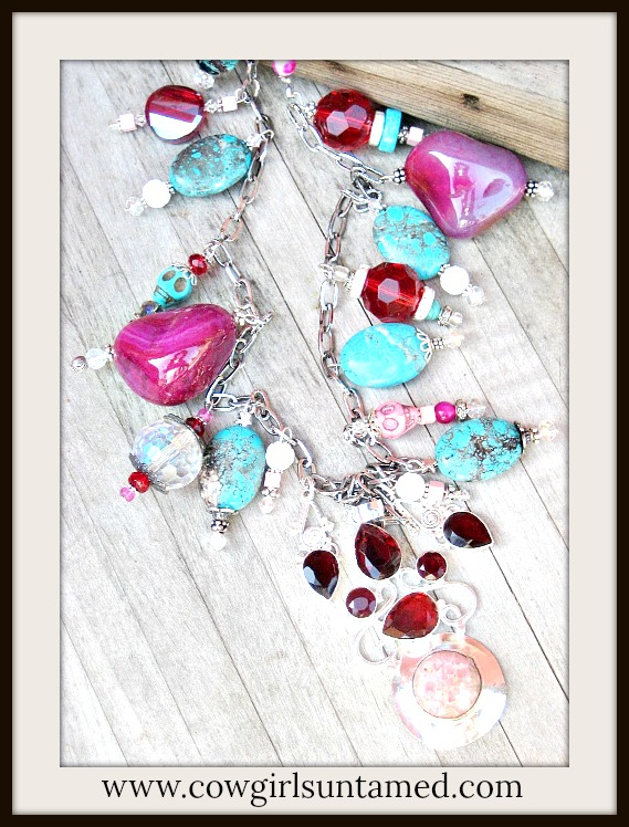 COWGIRL GYPSY NECKLACE Pink Gemstone 925 Sterling Large Pendant with Crystal, Gemstone & Skull Charms on Chunky Long Necklace