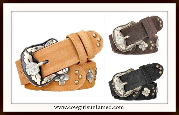 COWGIRL GYPSY BELT Genuine Leather Antique Bronze Studded Vintage Flower Rhinestone Belt