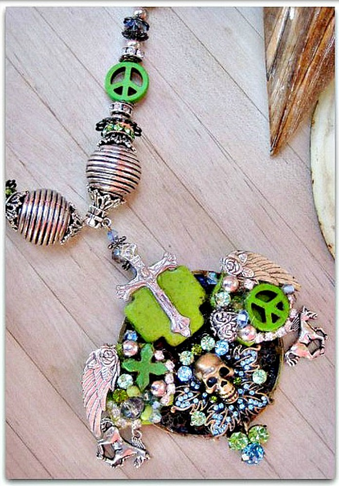 COWGIRLS ROCK NECKLACE Green Blue Rhinestone Vintage Bronze Skull Collage & Charm Chunky Necklace