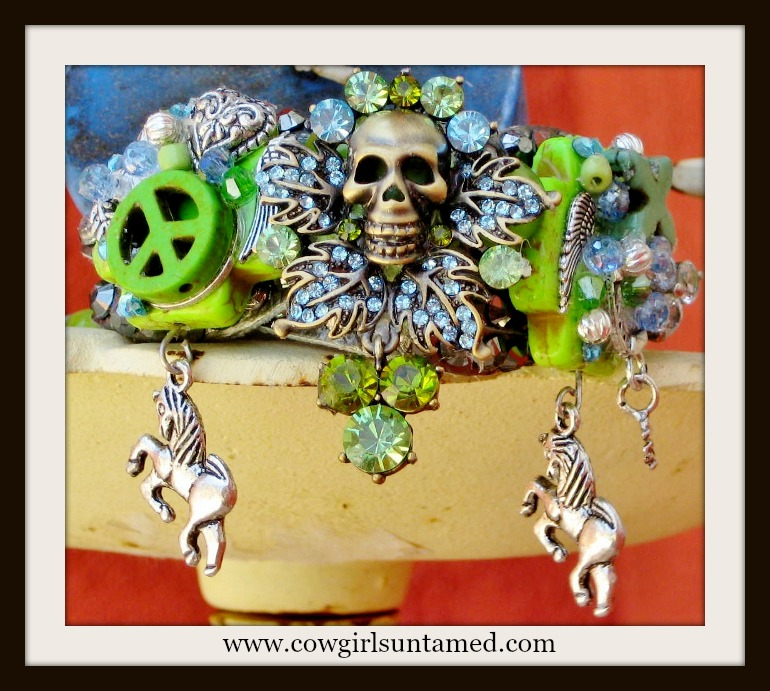 COWGIRL GYPSY CUFF Green Blue Rhinestone Skull Turquoise Cross Horse Collage Platinum Leather Bracelet