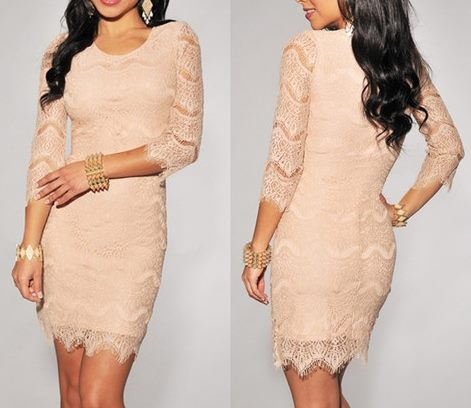 COWGIRL GLAM DRESS 3/4 Sleeve Peach Lace Western Mini Dress