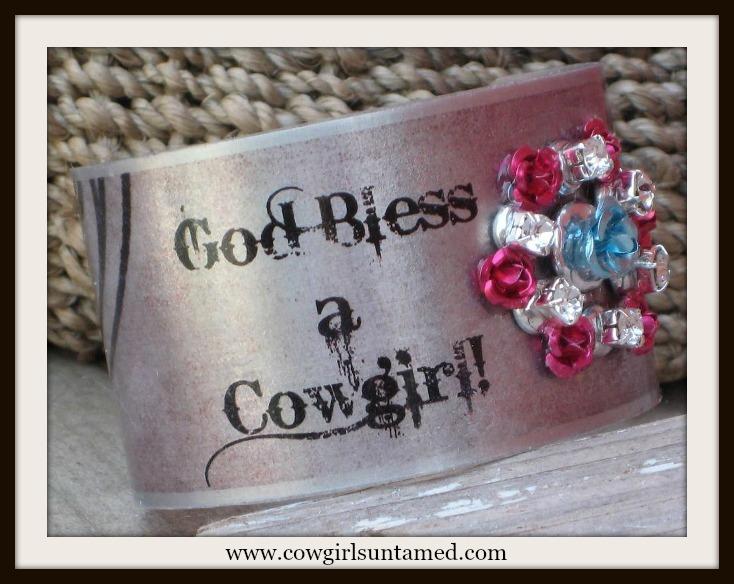 """COWGIRL ATTITUDE CUFF """"God Bless A Cowgirl"""" Silver N Rhinestone with Flowers Western Bracelet"""