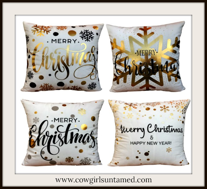 COWGIRL CHRISTMAS DECOR Gold Black and White Christmas New Year Pillowcase