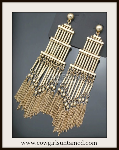 VINTAGE BOHEMIAN EARRINGS Long Golden Chain Boho Earrings