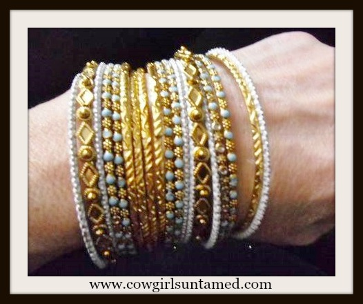 COWGIRL GYPSY Gold and Aqua Western Bangles Set gold bracelet