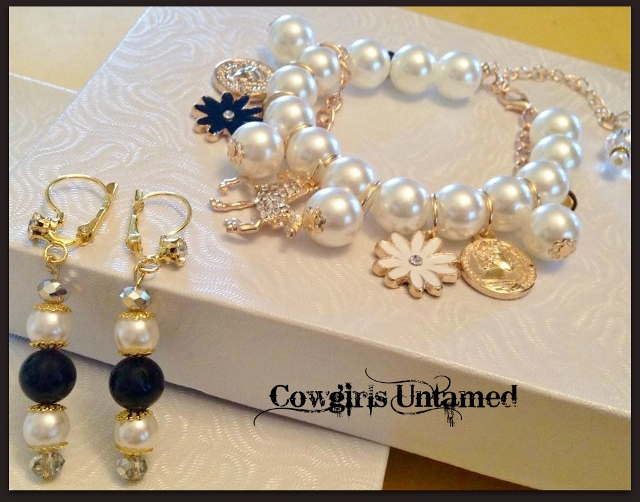 COWGIRL GLAM BRACELET SET Black Flower Coin N' Rhinestone Gold Horse Charms on Pearls and Gold  Bracelet Set