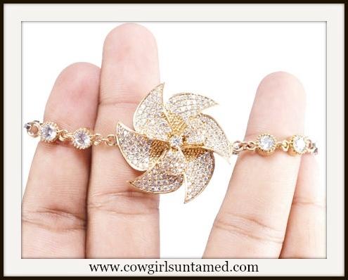 COWGIRL GLAM BRACELET White Topaz Windmill on Gold Plated Sterling Silver Bracelet
