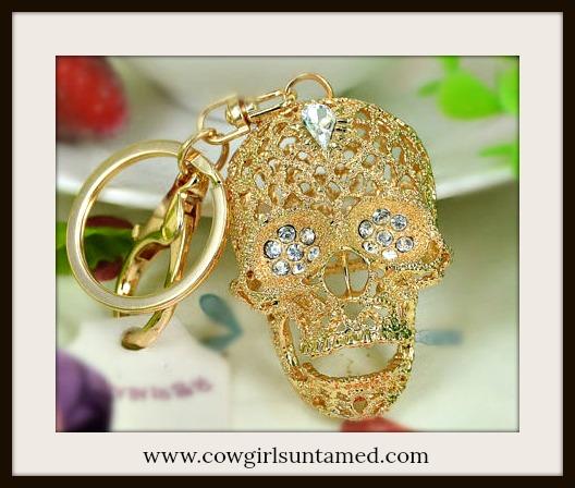 COWGIRLS ROCK KEYCHAIN Beautiful Golden Rhinestone Skull Keychain