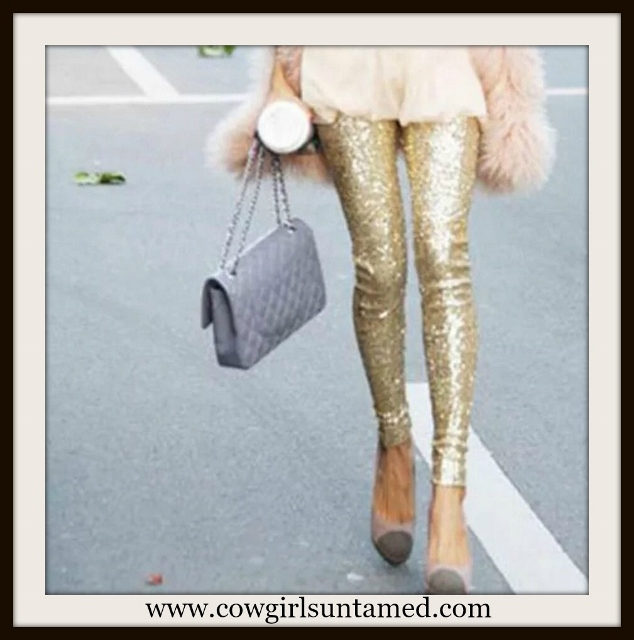 COWGIRL GLAM LEGGINGS Gold Sequin Leggings