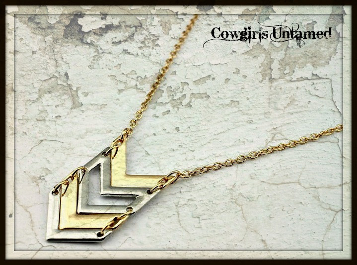 COWGIRL STYLE NECKLACE Silver and Gold Chevron Zig Zag Necklace