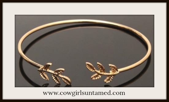 BOHEMIAN COWGIRL BRACELET Golden Leaf Adjustable Bracelet