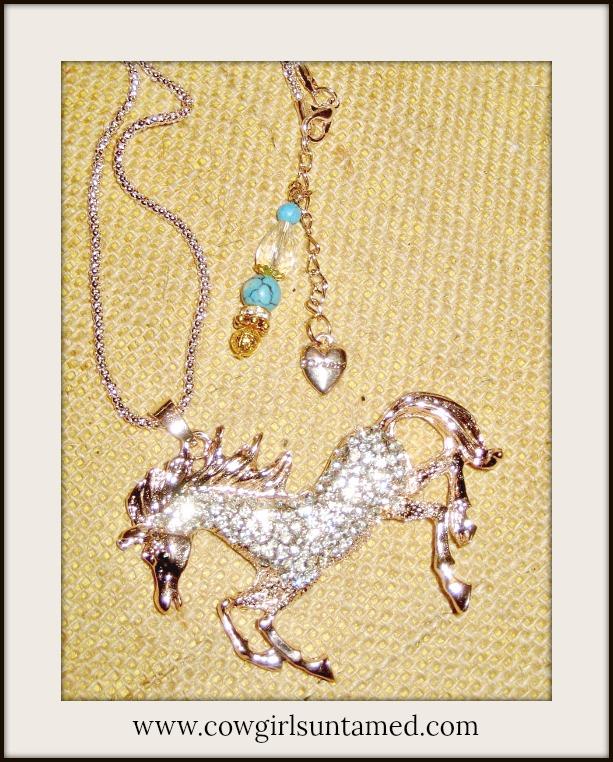 HORSE LOVIN' COWGIRL NECKLACE Rhinestone Horse Pendant Turquoise Crystal Charm Long Western Necklace