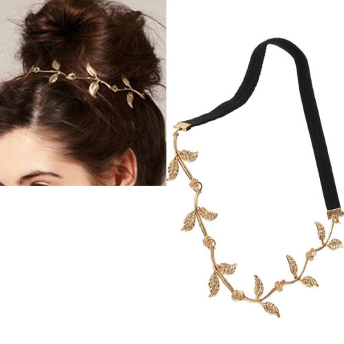 COWGIRL GYPSY HEADBAND Golden Leaves on Black Stretchy Headband