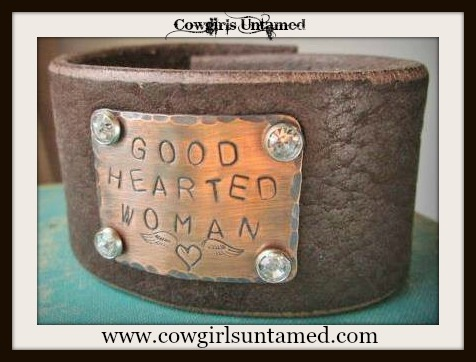 "COWGIRL ATTITUDE CUFF ""Good Hearted Woman"" Angel Wing Heart Crystal Studded Brown Leather Western Cuff Bracelet"