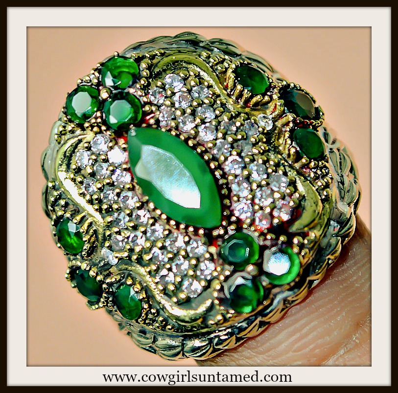 VINTAGE GYPSY RING Green Emerald 925 Sterling Silver Plated & Antique Bronze Ring