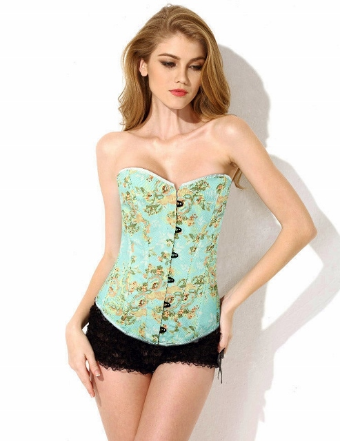 CORSET - Pastel Green Floral Lace Up Back Western Corset Top