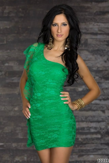 COWGIRL GLAM DRESS Green Lace Ruffle Single Shoulder Western Mini Dress
