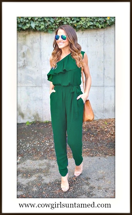COWGIRL GLAM ROMPER Green One Shoulder Ruffle Belted Chiffon Pants Romper