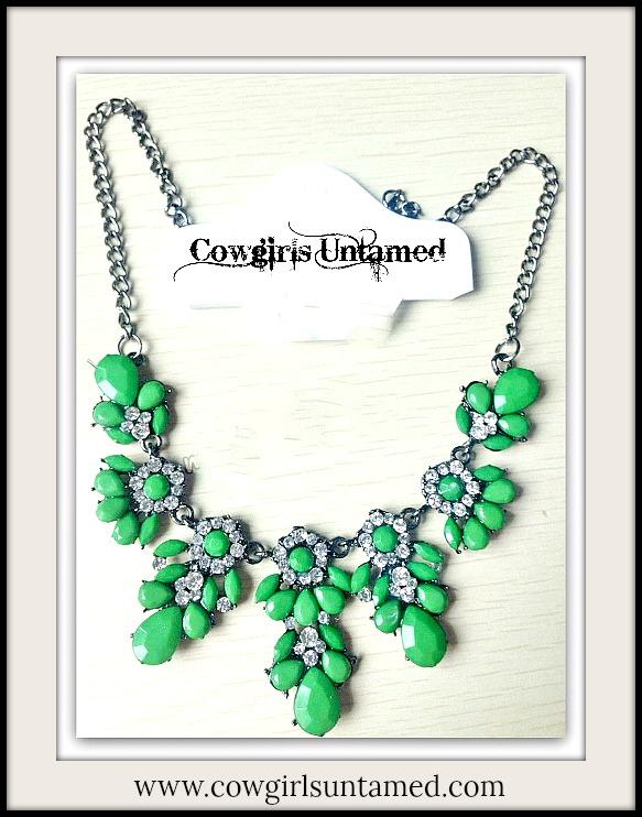 COWGIRL GYPSY NECKLACE Green Stone and Rhinestone Floral Gunmetal Silver Bib Necklace