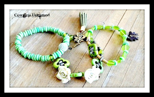 WILDFLOWER JEWELRY SET Antique Bronze Charms on Green Shell Glass & Turquoise Beaded Boho Bracelet 3 Pc SET
