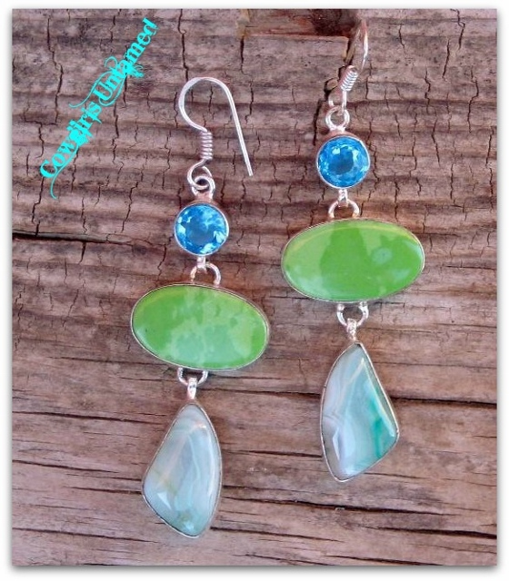 COWGIRL GYPSY EARRINGS Aqua Green Turquoise & Agate with Blue Topaz Gemstones Sterling Silver LONG Western Earrings