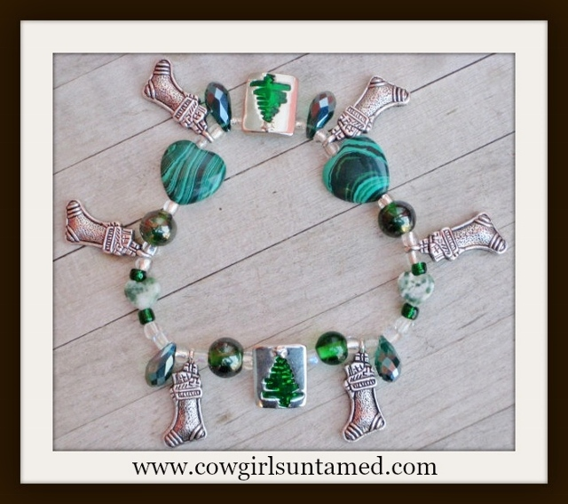 COWGIRL CHRISTMAS BRACELET Antique Silver Stocking Green Crystals & Turquoise Heart Green Tree Stretch Bracelet