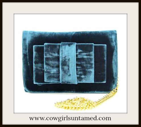COWGIRL GYPSY BAG Hunter Green Velvet Bow on Gold Chain Messenger Bag