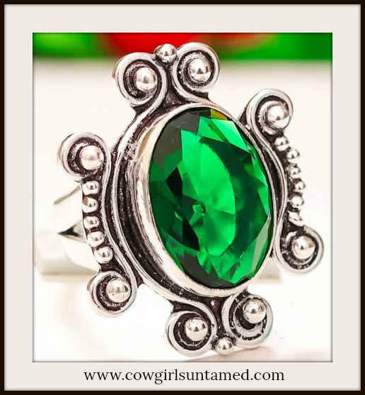 COWGIRL GYPSY RING  Chrome Diopside Gemstone 925 Sterling Silver Boho Ring