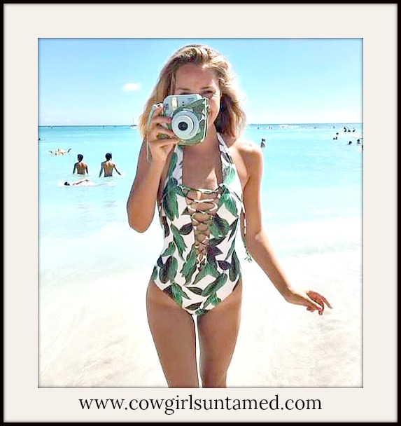 SUNDANCE COWGIRL SWIMSUIT Green Leaf Lace Up One Piece White Halter Bathing Suit
