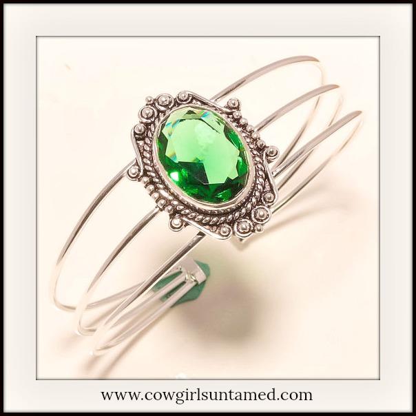 BOHEMIAN COWGIRL BRACELET Green Tourmaline Gemstone 925 Sterling Silver Vintage Style Bracelet
