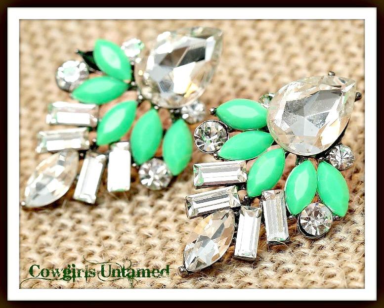 COWGIRL GLAM EARRINGS Bright Green and Clear Rhinestone Earrings