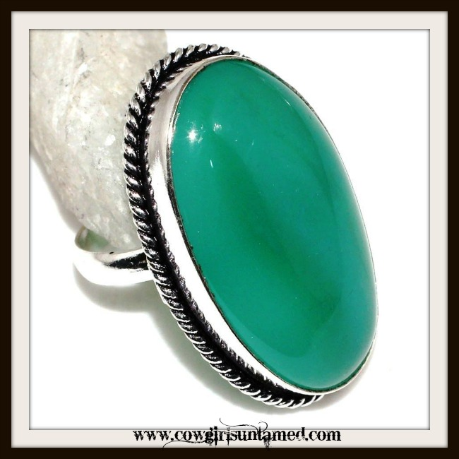 COWGIRL GYPSY RING  Green Lace ONYX RING Silver Antique