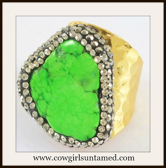 COWGIRL GYPSY RING Green Turquoise Surrounded by Pave Zircon Goldpl ated Ring