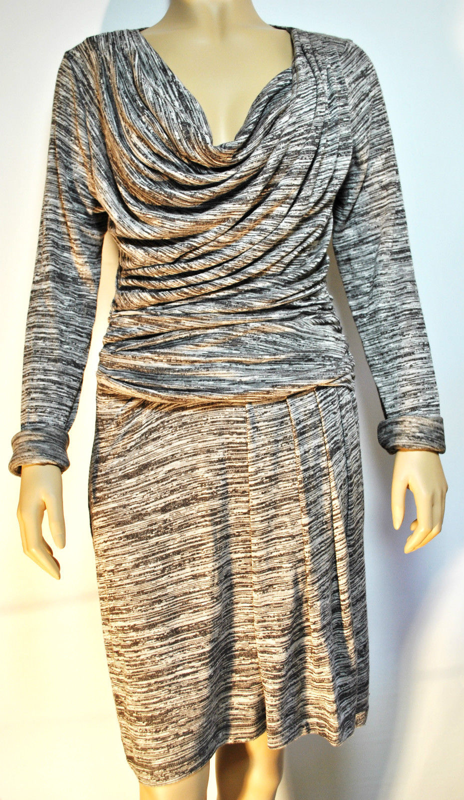 COWGIRL GLAM DRESS Grey & Black Draped Front Long Sleeve Designer Western Dress