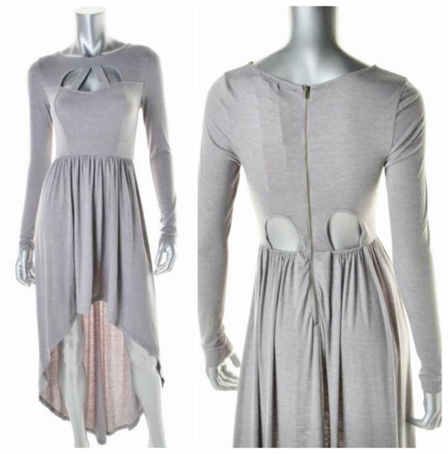 COWGIRLS ROCK DRESS Edgy Cut Out Neckline Exposed Back Zipper Hi Lo Hemline Light Grey Jersey Dress