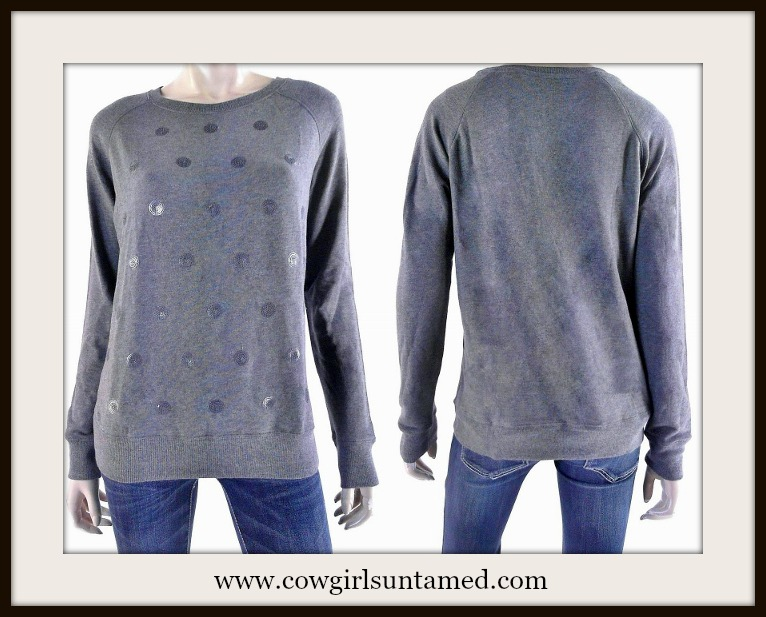 COWGIRL GLAM SWEATER Grey Sequin Polka Dot Pullover Designer Sweater