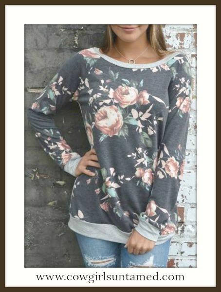 VINTAGE COWGIRL TOP Floral Long Sleeve Vintage Look Grey Top