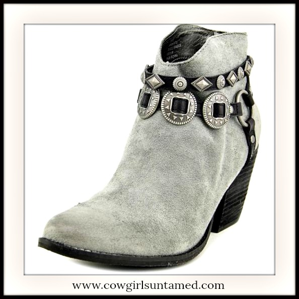 COWGIRLS ROCK BOOTS Black Belt Hardware on Grey Suede Western Ankle Boots
