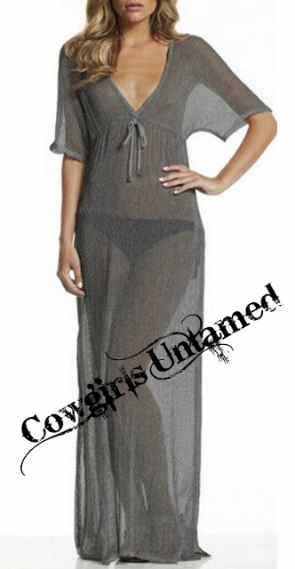 COWGIRL GYPSY COVER UP Long Empire Waist Dolman Sleeve Sheer Maxi Coverup