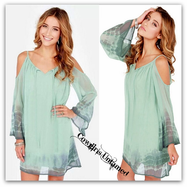 COWGIRL GYPSY DRESS Soft Pastel Aqua & Grey Tie Dye Hem Open Shoulder  Chiffon Tunic Top Mini Dress