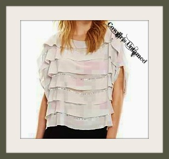 BCBG TOP Grey Silver Beaded Layered Sleeveless Oversized Designer Western Top by BCBG