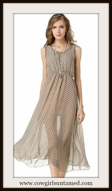 COWGIRL GLAM DRESS Grey and White Polka Dot Semi Sheer Dress
