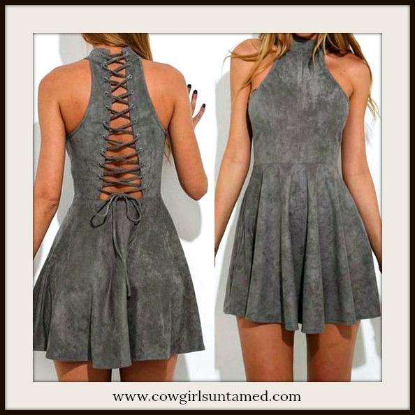 BOHO CHIC DRESS Dark Grey Faux Suede Lace Up Back Sleeveless Mini Dress